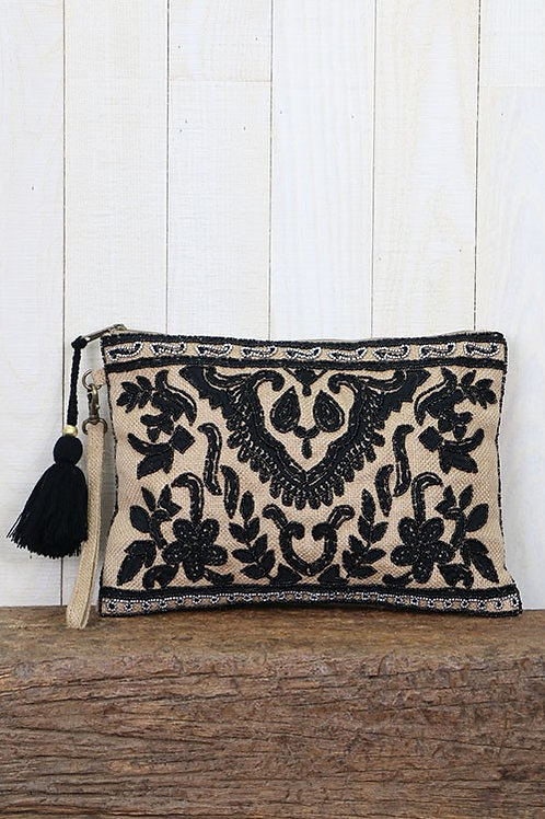 *SOLD OUT *-Beaded Jude Clutch Intricate Beaded Hand Embroide