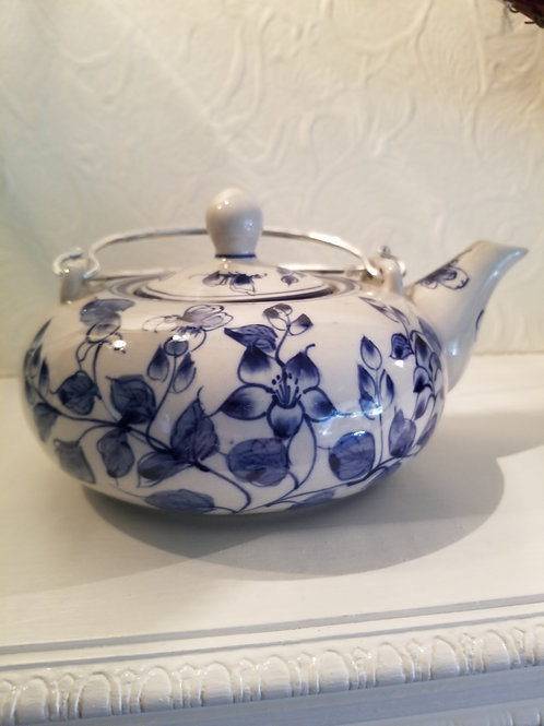 "Blue and White Decorative Tea Pot - Not for Tea ""Display Only"""