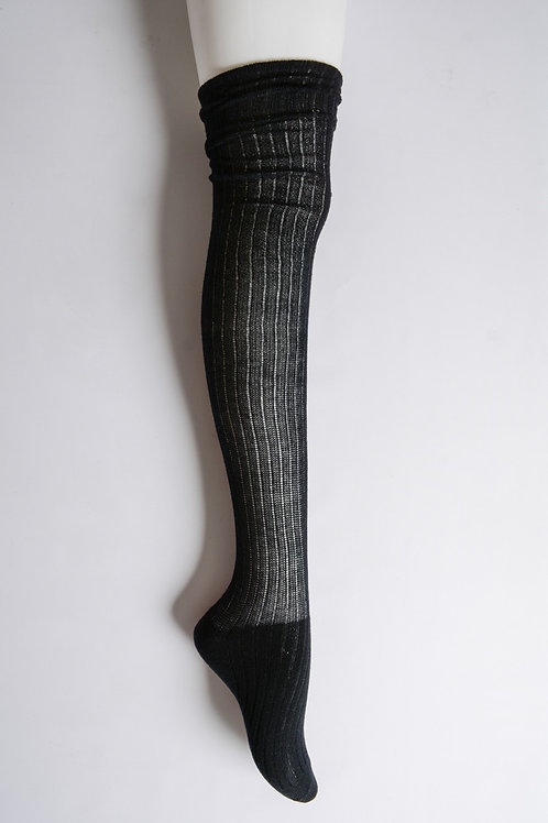 50% OFF - Classic Ribbed Thigh High Socks One Size Color Black