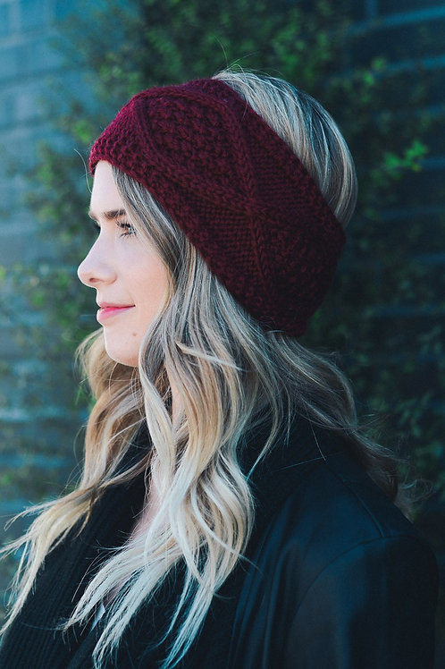 50% OFF - Diamond Stitch Knit Crochet Headband Burgundy