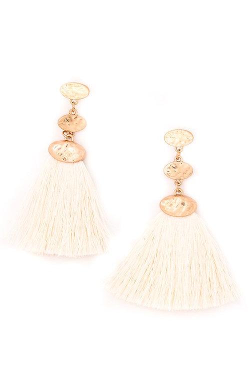 Triple Studded Earring Set w/Drop Tassel Details Ivory