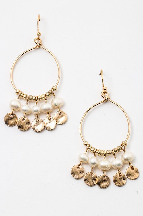 Hoops Pearls Coin Disks Dainty Earrings