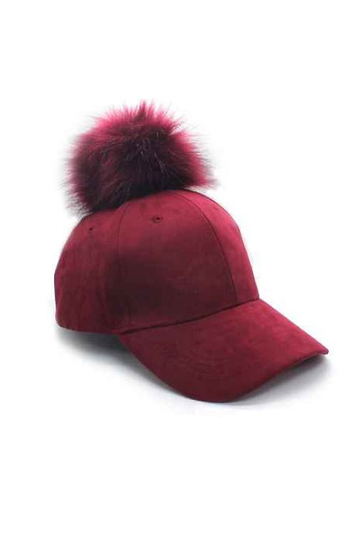 50% OFF -Suede Cap with Pompom Burgundy Color Cute