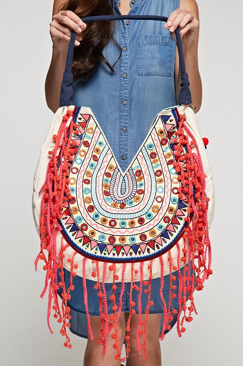 SOLD OUT! ❤ SoShoppyMulti Colored Embroidered Shoulder