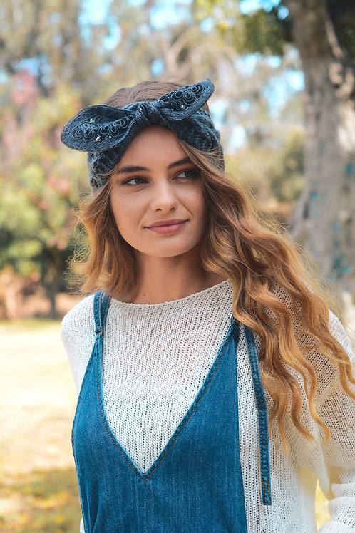 50 % OFF -Embellished Bow Knit Headband Color Charcoal