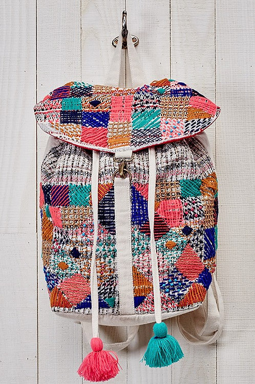 25% OFF - Multi Embroidered & Beaded Patchwork Backpack