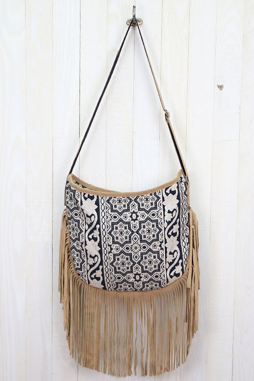 SOLD! ❤ 25% OFF - Cross Body Bag Jacquard Print Beaded Suede Tassels