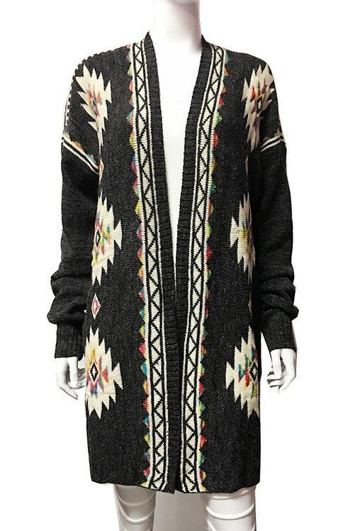 50% OFF - Print Cardigan Thick Knit, Aztec Printed Design