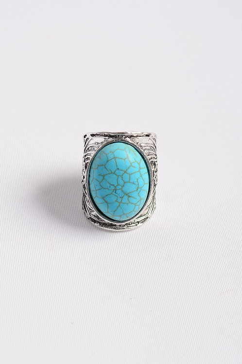 Bohemian Round Turquoise Stone Floral Engraved Silver Adjustable Fashion Ring