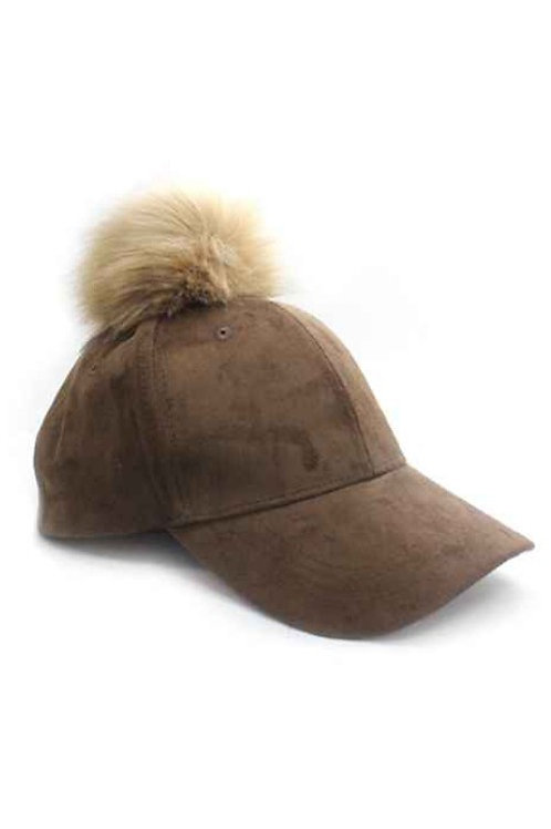 50% OFF - Suede Cap with Pompom Brown Color Cute
