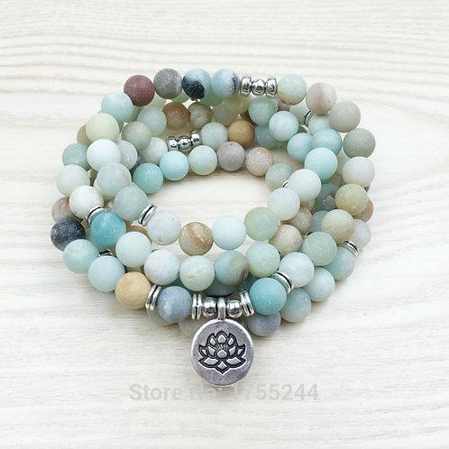 Fashion Women`s 8 mm Matte Amazonite 108 Mala Beads Bracelet or Necklace Lotus