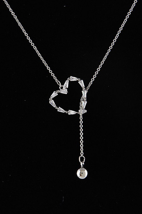 """I Love You Necklace Heart  30"""" approx. Silver Tone"""