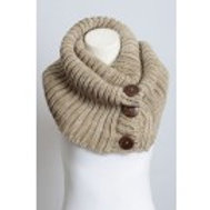 50% OFF - Chunky Knit Button Accent Infinity Scarf Mocha Color One Size
