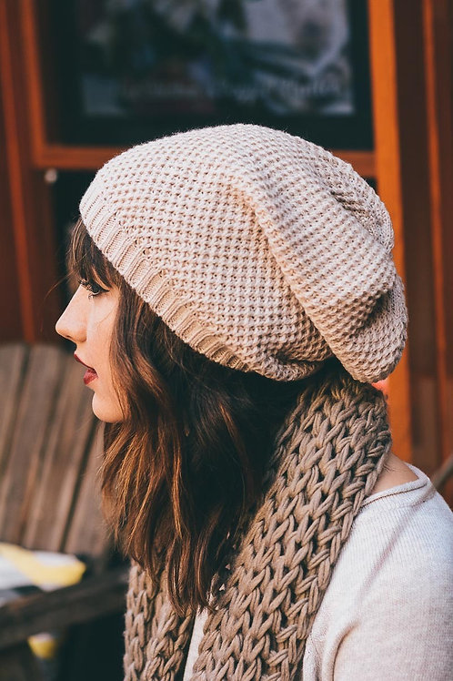 50% OFF Waffle Knit Slouch Beanie Oatmeal Color