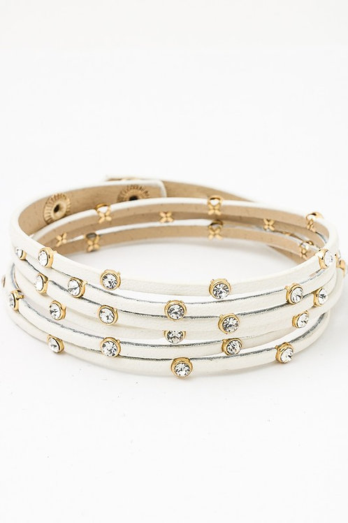 Embellished Strapped Leather Layered Bracelet Cubic Zirconia Rhinestones White