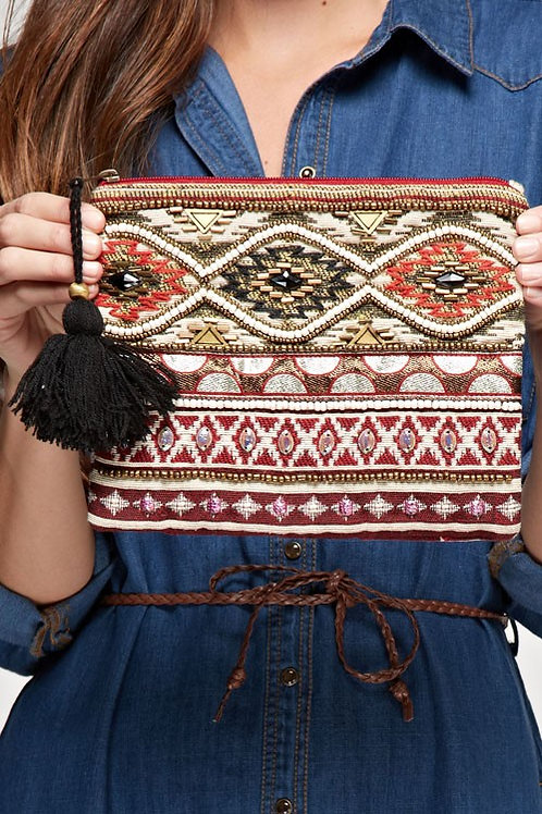 25% OFF - Aztec Motif Makeup Bag Beaded Detail Tassel Zipper Closure