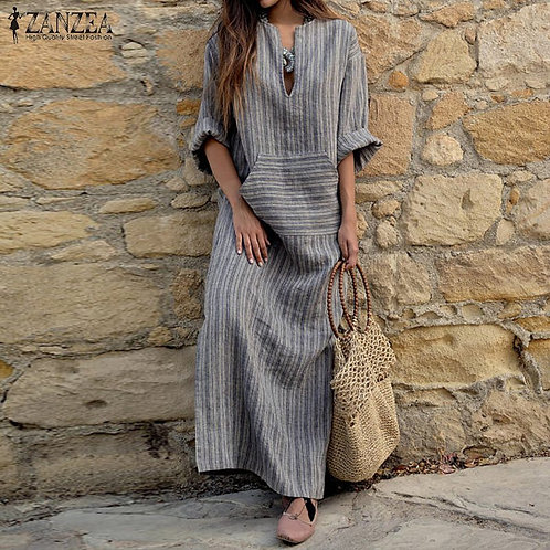 Women Gray Striped Dress 2018 Autumn Vintage Casual Loose Maxi Long Dress