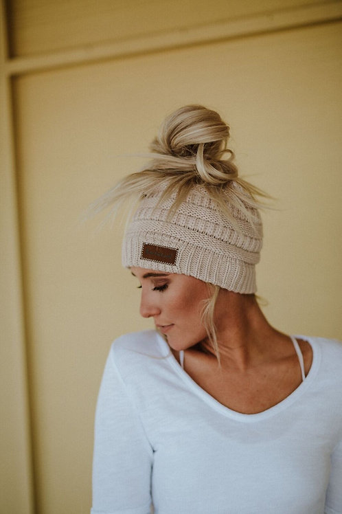 50% OFF - Messy Bun Knitted Beanie Hat Oatmeal Color