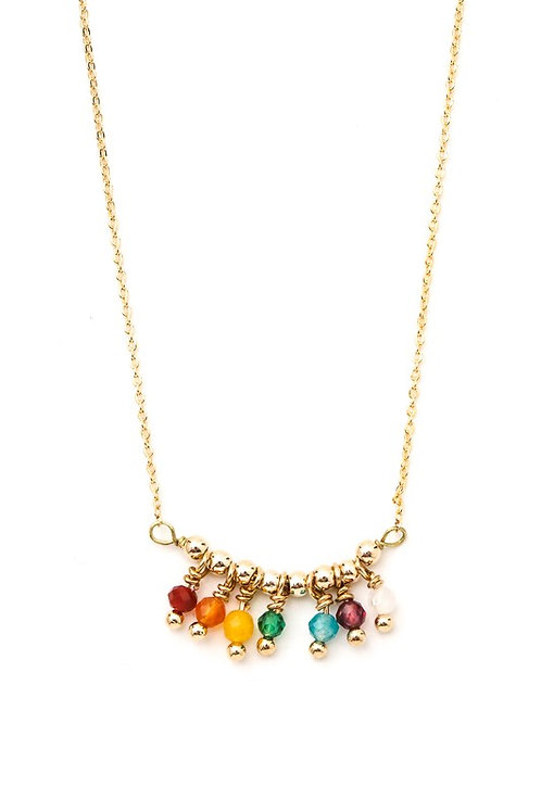 Rainbow Beaded Fringe Charm Necklace