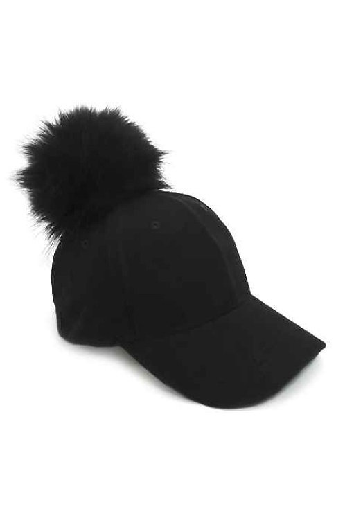 50% OFF -Suede Cap with Pompom Black Color Cute