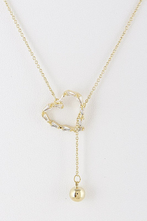"I Love You Necklace Heart Gold Tone 30""Long"
