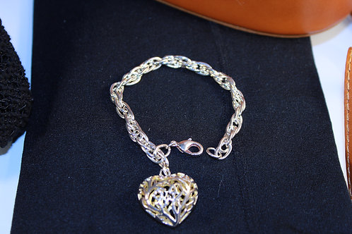 Silver Chain Link Cage Heart Bracelet Lobster Clasp