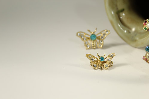 Vintage, Small Double Butterfly Brooch Pin Crystal,  Jewelry 72