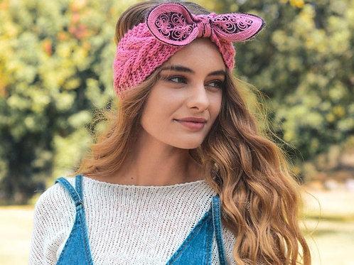 50% OFF -Embellished Bow Knit Headband Color Rose