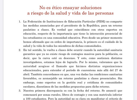 DECLARACIÓN PUBLICA FIDE COVID-19