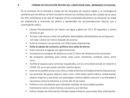 Comunicado Interno Colegio Santa Inés