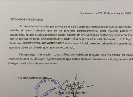 Suspensión de clases lunes 21 de octubre.