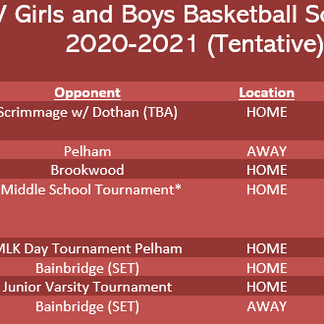 JV Boys and Girls Basketball Schedule 2020-2021 (Tentative)