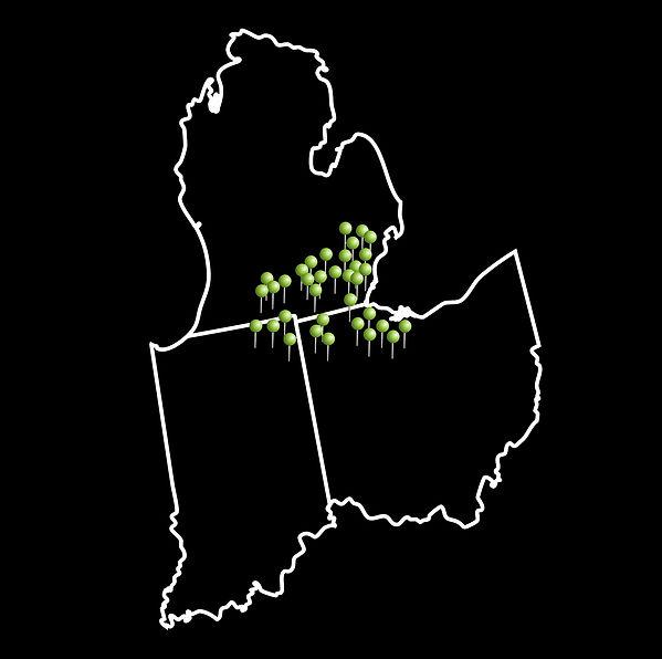 Map of Michigan, Ohio and Indiana