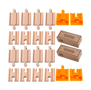 ORBRIUM® 2x Pack of 8, 16 Pcs Wooden Train Track Adapters, Male-Male & Female- Female