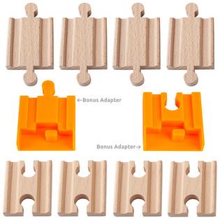 ORBRIUM® 8 Pcs Wooden Train Track Adapter; Male-Male & Female-Female