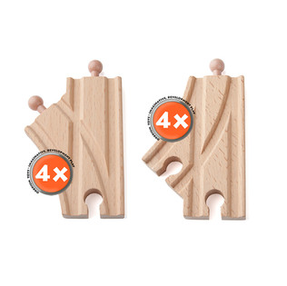 ORBRIUM® Short Curved Switch Tracks for Wooden Train Railway