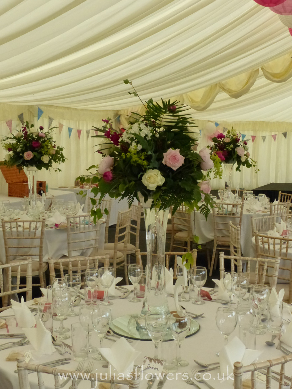 Tall Vases with Florals on Tables.JPG