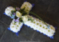 CR1 Small White Cross with Blue Ribbonin