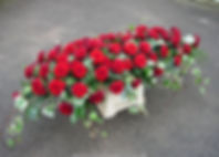 SP19 - Red Rose Coffin Spray with Traili