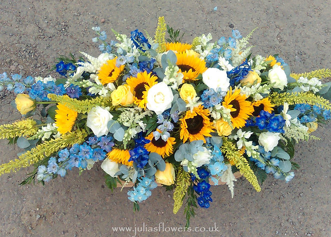 SP10 Bold Sunflower Coffin Spray with De