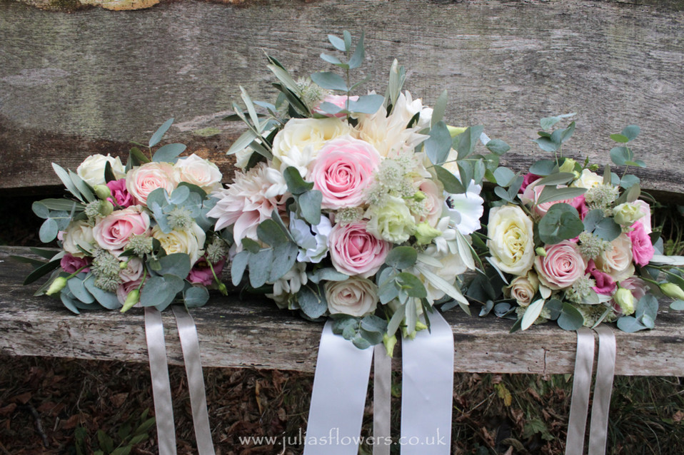 Brides Bouquet and Maids Posies.JPG