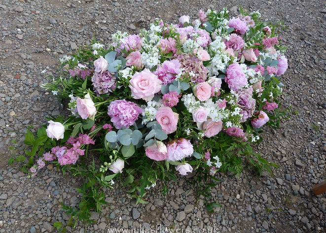 SP28 Pale Pinks Coffin Spray with roses