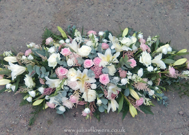 SP33 Pink & White Coffin Spray with Lili