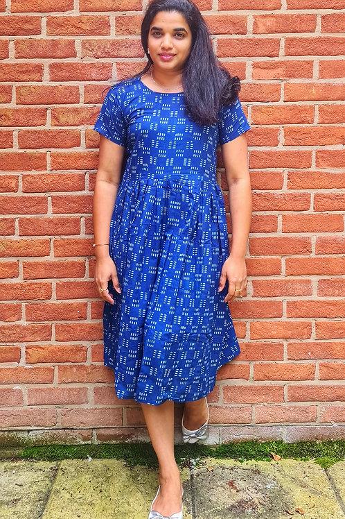 Indigo Printed Dress with Slit Back Detail