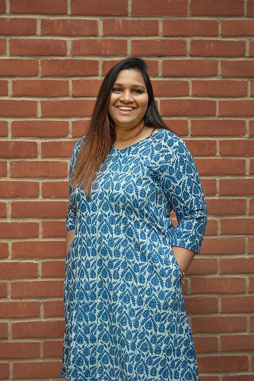 Indigo Printed Dress