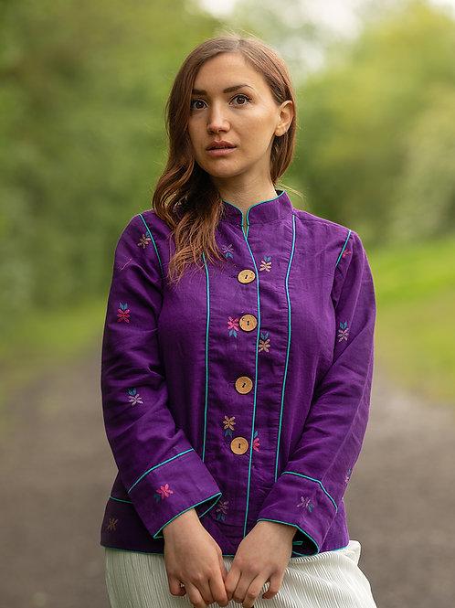 Purple Top with Jamdani Floral details