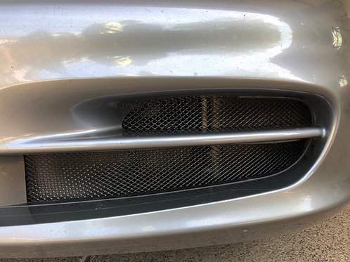 Silver Porsche 996.2 911 drivers side radiator grille installed