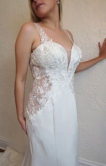 Style Skylar wedding gown front closue up view