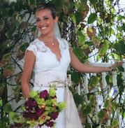 Alecon lace , silk chiffon gown