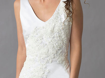 Wedding gown Vanessa, double face silk with lace applique sheath gown